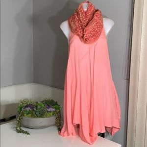 All Saints Spitalfields Coral Silk Kansas Dress